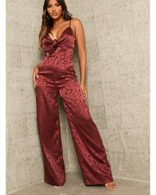 ISAWITFIRST.com Burgundy Strappy Satin Tie Front Wide Leg Jumpsuit - 4 / RED