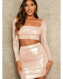 ISAWITFIRST.com Gold Metallic Ruched Front Long Sleeve Crop Top - 4 / METALLIC