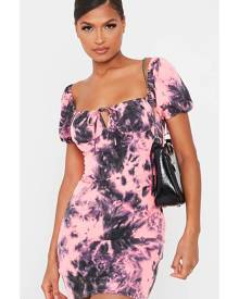 ISAWITFIRST.com Neon Pink Tie Dye Puff Sleeve Bodycon Dress - 4 / PINK