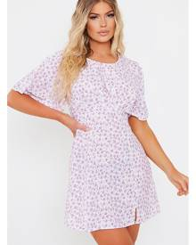 ISAWITFIRST.com Lilac Woven Ditsy Floral Short Sleeve Bust Detail Tea Dress - 4 / PURPLE
