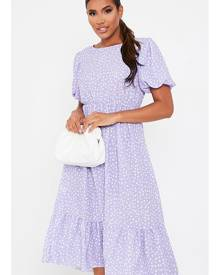 ISAWITFIRST.com Lilac Puff Sleeve Polka Dot Midi Dress - 4 / PURPLE