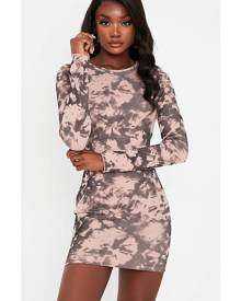 ISAWITFIRST.com Beige Rib Tie Dye Long Sleeve Crew Neck Bodycon Mini Dress - 4 / BEIGE