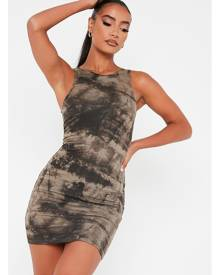 ISAWITFIRST.com Khaki Double Layer Jersey Tie Dye Racer Neck Bodycon Dress - 4 / GREEN