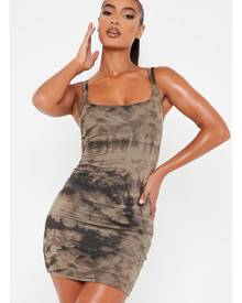 ISAWITFIRST.com Khaki Jersey Tie Die Double Strap Bodycon Dress - 4 / GREEN