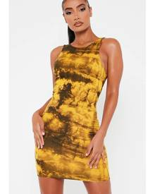 ISAWITFIRST.com Mustard Double Layer Jersey Tie Dye Racer Neck Bodycon Dress - 4 / YELLOW