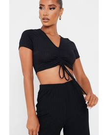 ISAWITFIRST.com Black Short Sleeve Ruched Front Crop Top - 4 / BLACK