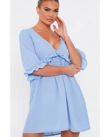 ISAWITFIRST.com Baby Blue Plunge Ruffle Detail Smock Mini Dress - 4 / BLUE