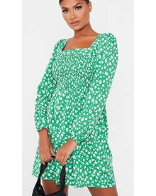ISAWITFIRST.com Emerald Green Woven Floral Print Shirred Top Smock Dress - 4 / GREEN