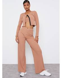 ISAWITFIRST.com Camel Rib Popper Detail 3 Piece Co-Ord Set - 4 / BEIGE