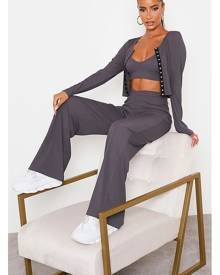 ISAWITFIRST.com Charcoal Rib Popper Detail 3 Piece Co-Ord Set - 4 / GREY
