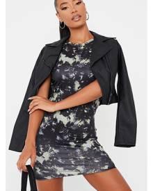 ISAWITFIRST.com Black Tie Dye Jersey Racer Neck Bodycon Dress - 4 / BLACK