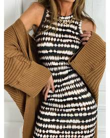 ISAWITFIRST.com Brown Tie Dye Jersey Racer Neck Bodycon Dress - 4 / BROWN
