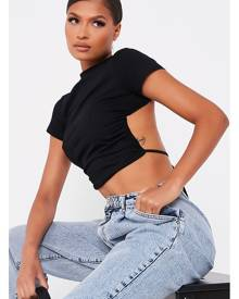 ISAWITFIRST.com Black Cut Out Back Short Sleeve Crop Top - S / BLACK