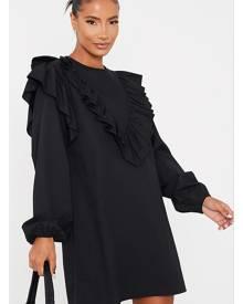 ISAWITFIRST.com Black Cotton Poplin Ruffle Detail Shift Dress - 4 / BLACK
