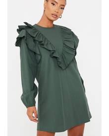 ISAWITFIRST.com Emerald Green Cotton Poplin Ruffle Detail Shift Dress - 4 / GREEN