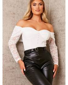 ISAWITFIRST.com White Lace Sleeve Bardot Bodysuit - XS / WHITE