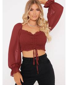 ISAWITFIRST.com Berry Ruched Front Milkmaid Crop Top - 4 / RED