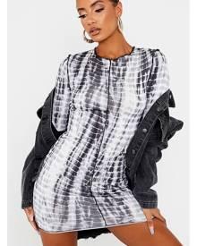 ISAWITFIRST.com Black Jersey Tie Dye Binding Detail Bodycon Dress - 4 / BLACK