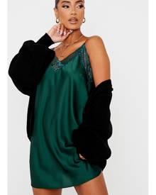 ISAWITFIRST.com Emerald Green Lace Trim Satin Cami Shift Dress - 4 / GREEN