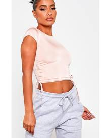 ISAWITFIRST.com Peach Slinky Ruched Side Short Sleeve Crop Top - 4 / ORANGE
