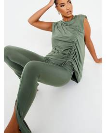 ISAWITFIRST.com Khaki Slinky Ruched Detail Shoulder Pad Tunic Top - 4 / GREEN