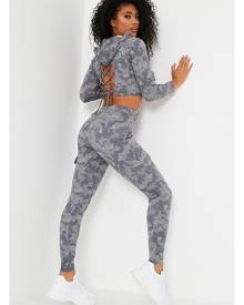 ISAWITFIRST.com Grey Camo Print Loopback Cut Out Back Hoodie And Cargo Jogger Set - 4 / GREY