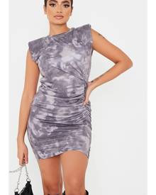 ISAWITFIRST.com Grey Jersey Tie Dye Shoulder Pad Ruched Bodycon Dress - 4 / GREY