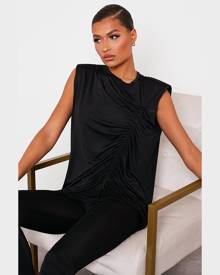 ISAWITFIRST.com Black Slinky Ruched Detail Shoulder Pad Tunic Top - 4 / BLACK