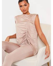 ISAWITFIRST.com Taupe Slinky Ruched Detail Shoulder Pad Tunic Top - 4 / BEIGE