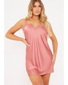 ISAWITFIRST.com Dusky Pink Lace Trim Satin Cami Shift Dress - 4 / PINK