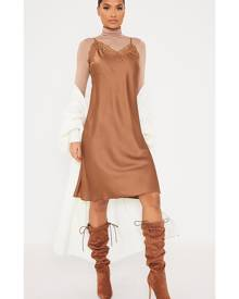 ISAWITFIRST.com Brown Lace Trim Satin Cami Midi Dress - 4 / BROWN