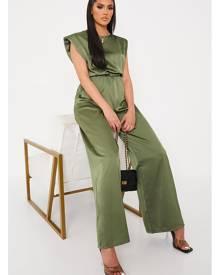 ISAWITFIRST.com Khaki Satin Shoulder Padded Wide Leg Jumpsuit - 4 / GREEN