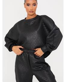 ISAWITFIRST.com Black Wet Look Quilted Curved Hem Batwing Sweater - 4 / BLACK