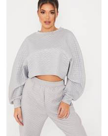 ISAWITFIRST.com Grey Wet Look Quilted Curved Hem Batwing Sweater - 4 / GREY