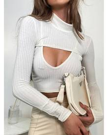 ISAWITFIRST.com Stone Jumbo Rib Cut Out Crop Top - 4 / BEIGE