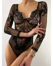 ISAWITFIRST.com Black Long Sleeve Plunge Lace Bodysuit - XS / BLACK