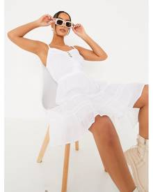 ISAWITFIRST.com White Cotton Lace Tiered Cami Skater Dress - XS / WHITE