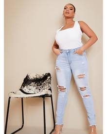ISAWITFIRST.com Light Blue Plus Size Rip Detail Stretch Skinny Jeans - 18 / BLUE