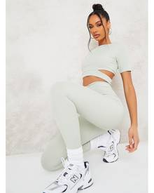 ISAWITFIRST.com Sage Cut Out Short Sleeve Rib Crop Top - 4 / GREEN