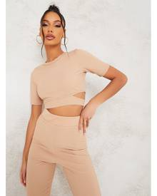 ISAWITFIRST.com Taupe Cut Out Short Sleeve Rib Crop Top - 4 / BEIGE