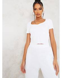 ISAWITFIRST.com White Ruched Front Lettuce Hem Crop Top - XS / WHITE
