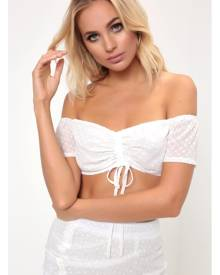 ISAWITFIRST.com White Ruched Dobby Polka Dot Bandeau Top - 6 / WHITE