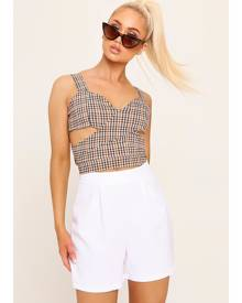 ISAWITFIRST.com Mustard Cut Out Checked Crop Top - XS / YELLOW