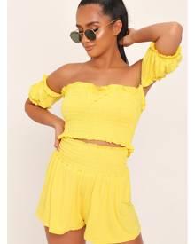 ISAWITFIRST.com Yellow Shirred Bardot Crop Top - 6 / YELLOW