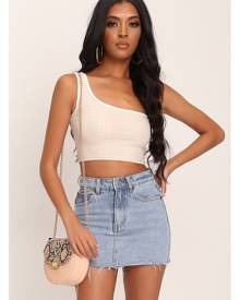 ISAWITFIRST.com Cream One Shoulder Snake Embossed Top - 6 / WHITE