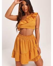 ISAWITFIRST.com Mustard Polka Dot One Shoulder Crop Top & Ruffle Skirt - 6 / YELLOW