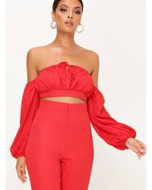 ISAWITFIRST.com Red Bardot Ruched Front Crop Top - 6 / RED