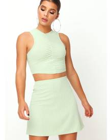 ISAWITFIRST.com Sage Ribbed Ruched Front Crop Top - 6 / GREEN