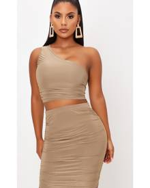 ISAWITFIRST.com Taupe Double Layer Slinky Ruched One Shoulder Crop Top - 4 / BEIGE