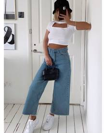 ISAWITFIRST.com White Ribbed Cut Out Panel Short Sleeve Crop Top - 4 / WHITE